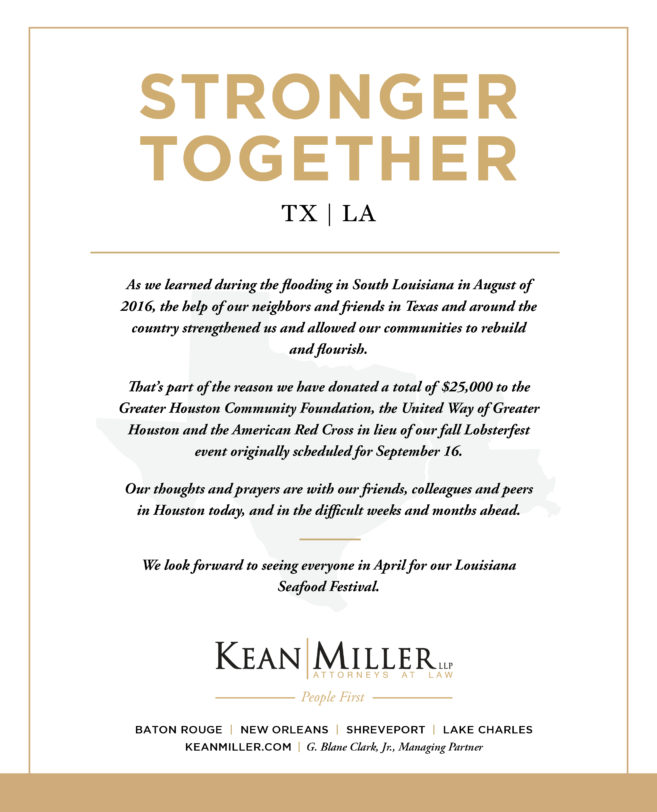 Kean Miller Donates $25,000 To Hurricane Harvey Relief Efforts